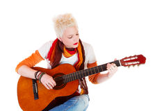 Beautiful Woman. With a guitar Stock Images