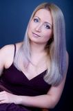 Beautiful woman. Attractive young woman with violet hair Royalty Free Stock Photo