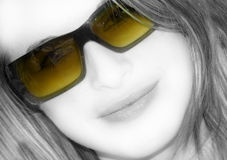 Beautiful woman. With yellow glasses Royalty Free Stock Images
