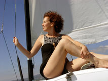 Beautiful woman. On the sail boat Royalty Free Stock Photography