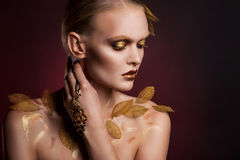 Beautiful  woman in accessories with gold leaves. Beautiful elegant woman in accessories with gold leaves.  portrait Royalty Free Stock Photo