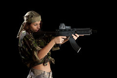 Beautiful woman in action pose Stock Images
