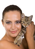 Beautiful woman with adorable kitten Royalty Free Stock Photo