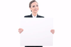 Beautiful woman advertising in formal clothes Royalty Free Stock Photography