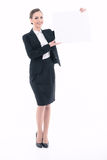 Beautiful woman advertising in formal clothes Stock Image