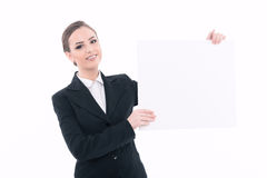 Beautiful woman advertising in formal clothes Royalty Free Stock Images