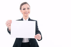 Beautiful woman advertising in formal clothes Royalty Free Stock Photo