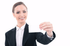 Beautiful woman advertising in formal clothes Stock Photography