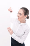 Beautiful woman advertising in formal clothes Stock Photo