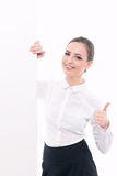 Beautiful woman advertising in formal clothes Royalty Free Stock Image