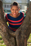 Beautiful woman afro american black tree in park Royalty Free Stock Images