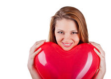 Beautiful woman with air balloon like heart Stock Image