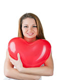 Beautiful woman with air balloon like heart Stock Photography