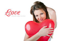 Beautiful woman with air balloon like heart Stock Photos