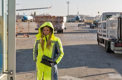 Beautiful woman airport staff at Kiev Boryspil airport, Ukraine stock photography