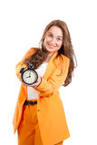 Beautiful woman with alarm clock on white backgraund Stock Photo