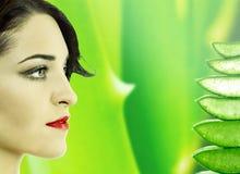 Beautiful Woman and Aloe Vera stock images