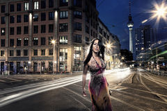 Beautiful woman alone in Berlin. Beautiful woman with a robe alone in Berlin City Stock Photography