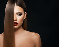 Beautiful woman with amazing hair royalty free stock photos