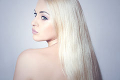 Beautiful Woman with Amazing Hair.Blond Girl Stock Image