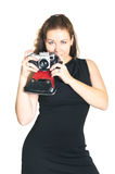 Beautiful woman with ancient camera Royalty Free Stock Photography