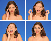 Beautiful Woman And Earphones Stock Photography