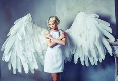 Beautiful woman angel Stock Images