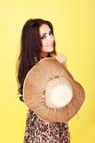 Beautiful woman in animal print dress stock photography