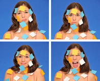 Beautiful woman ans sticky notes Stock Photos