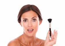 Beautiful woman with anti aging brush Stock Photo
