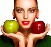 Beautiful woman with apple Royalty Free Stock Image