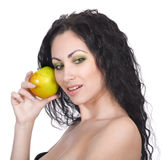Beautiful woman with apple Royalty Free Stock Photography