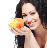 Beautiful woman with apple Stock Images