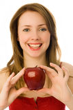 Beautiful woman with an apple Royalty Free Stock Photos