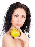 Beautiful woman with apple Stock Image