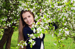 Beautiful  woman with apple tree Royalty Free Stock Image