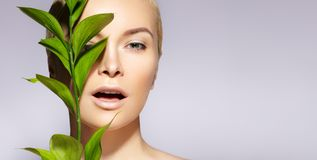 Beautiful woman applies Organic Cosmetic. Spa and Wellness. Model with Clean Skin, Natural Make-Up, leaf. Copy Space. Beautiful woman applies Organic Cosmetic royalty free stock images