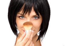 Beautiful Woman Applying Blush Stock Image
