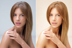 Beautiful woman applying cream on her shoulder Royalty Free Stock Photography