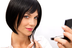 Beautiful Woman Applying Lipstick Stock Image