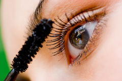 Beautiful woman applying mascara with brush Royalty Free Stock Photos