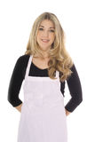 Beautiful woman in apron isolated on white Stock Image