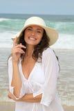 Beautiful woman ar the beach Stock Photography
