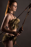 Beautiful woman archer with bow Royalty Free Stock Photo