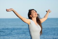 Beautiful woman with arms outstretched Royalty Free Stock Photos