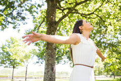 Beautiful woman with arms outstretched Royalty Free Stock Images