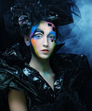 Beautiful woman with artistic make-up Stock Image
