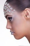 Beautiful woman artistic rhinestone make up Stock Image