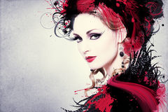 Beautiful Woman Artwork. Beautiful woman, Artwork with ink in grunge style Royalty Free Stock Image