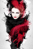 Beautiful Woman Artwork. Beautiful woman, Artwork with ink in grunge style Royalty Free Stock Photo